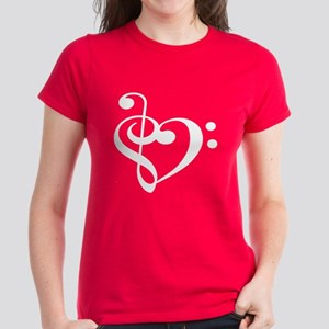 Treble Bass Clef Heart Women's Dark T-Shirt